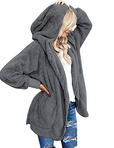 LookbookStore Women's Oversized Open Front Hooded Draped Pocket Cardigan Coat Dark Grey Size XL (Fit US 16 - US 18)
