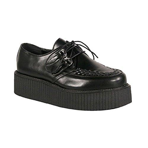 Gothic Punk Shoes - 2 Inch Mens Platform Shoe Gothic Punk Lace Up Oxfords Veggie Creeper Shoe Black Size: 9