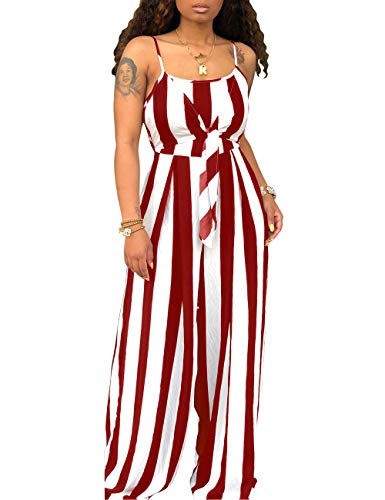 (Women's Spaghetti Strap Sleeveless Wide Leg Long Pants Cut Out Back Striped Casual Jumpsuits Rompers Wine Red)