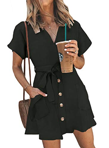 Sidefeel Women V Neck Short Sleeve Wrap Button Front Tie Waist Mini Dress Medium Black
