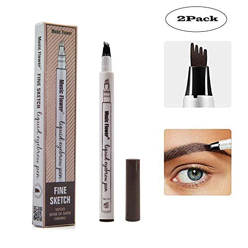 Yuxuan Eyebrow Tattoo Pen Microblading Eyebrow Pencil with a Micro-Fork Tip Applicator Creates Natural Looking Brows Effortlessly and Stays on All Day(2 pcs/set,Chestnut) ()