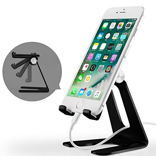 Adjustable Cell Phone Stand iPad Tablet Stand,Cradle, Dock,Multi-Angle Rotatable Aluminum Alloy Stand Holder for iPhone X 6 7 8 Plus 5 5s,All Android Smartphone,Accessories Desk - Black