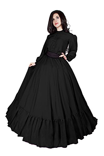 Civil War Reenactment Victorian Garibaldi 3 Piece Dress (L/XL, Black) ()