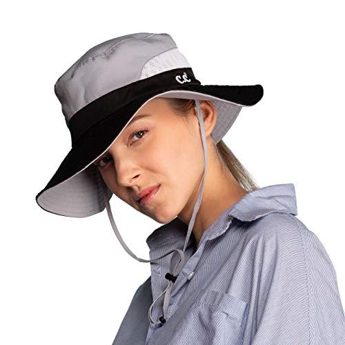C.C Hatsandscarf Exclusives Outdoor Sun Hat UV Protection Foldable Mesh Wide Brim Beach Summer Hat (ST-2177) (Grey)
