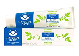 Nature's Gate Natural Toothpaste, Cool Mint Gel, Fluoride Free, No Artificial Colors; Vegan, Gluten Free, Soy Free, Paraben Free, Sulfate Free, Cruelty Free, 6 Ounce Recyclable Tubes (Pack of 6)