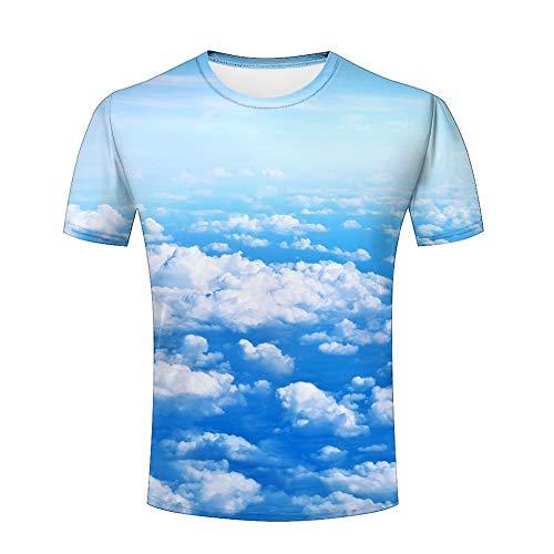 Men Fashion Tshirts White Fluffy Clouds Blue Sky Unisex Casual 3D Print Short Sleeve T-Shirt Tees M