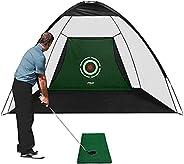 PGM Golf Net 10x7ft Golf Practice Net Training Aids Golf Hitting Net with Impact Net for Backyard Swing Chippi