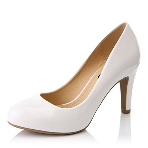 DailyShoes Women's Comfortable Cushioned Slip On Low Heels Round Toe Dress Pumps Shoes, White Patent Leather, 8.5 B(M) US