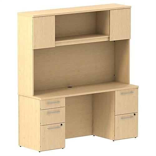 (BSH300S059AC - Bush Industries Bush Business 66W x 22D Double Pedestal Desk with 66W Hutch with)
