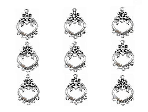 50pcs Chandelier Earring Loops Connectors Eardrop Necklace Linker Earring Charm Pendant for DIY Jewelry Making Findings(Tibetan Silver,Type 5#)