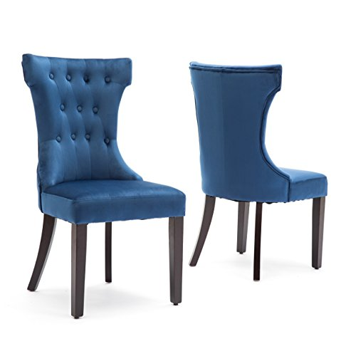 (Belleze 2 Pcs Dining Chair Upholstered Armless Accent Side Chair Home Kitchen Furniture, Blue)