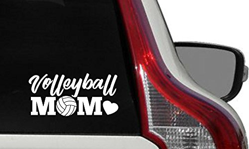 Mom Volleyball Heart Car Vinyl Sticker Decal Bumper Sticker for Auto Cars Trucks Windshield Custom Walls Windows Ipad Macbook Laptop Home and More (WHITE)