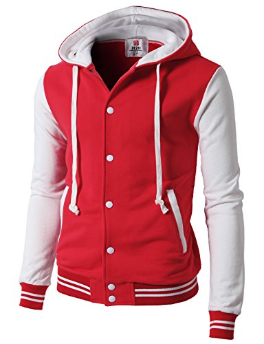 H2H Men's Cotton Baseball Bomber Jacket Slim Fit Coat Hoodie Redwhite US XL/Asia 2XL (CMOJA099) ()
