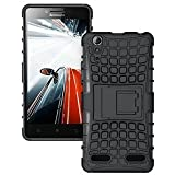M.G.R Hard Armor Hybrid Rubber Bumper Flip Stand Rugged Back Case Cover for Lenovo A6000 / A6000+ Plus - Black