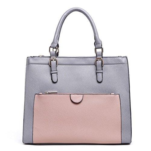 Messenger Ladies Designer Women's Pocket Fashion Nude Front Trendy Grab Grey CWS00366 Tote Handbag Bags Quality Shoulder qErqwvxd5