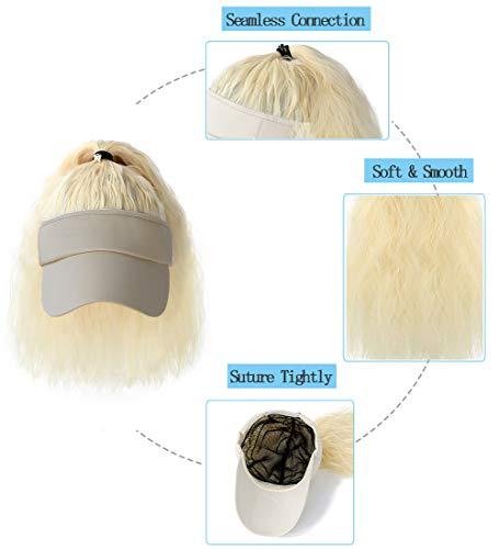Flare cheveux fausse fourrure Beanie New York Yankee Bleu Cheveux Blonds Visière