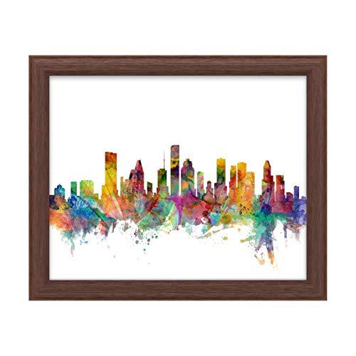 Trademark Fine Art Houston Texas Skyline by Michael Tompsett, Wood Frame 16x20, Multi-Color