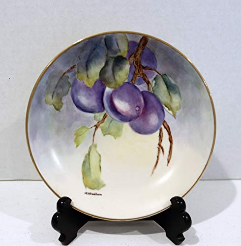 - Hand Painted China Plate Blue/Purple Plum with 14kt Gold Rim 8 3/8