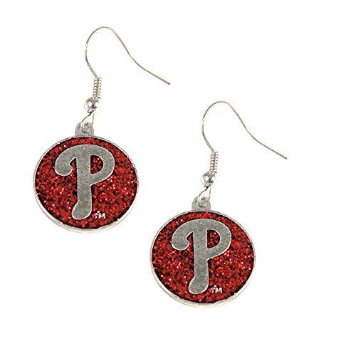 Mlb Round Earrings - MLB Philadelphia Phillies Glitter Dangler Earrings