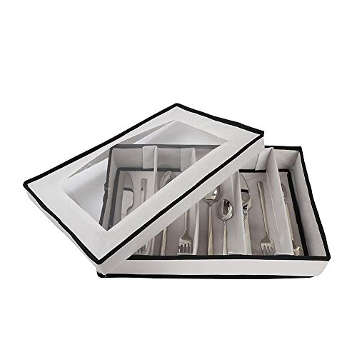 Flatware Storage Chest,Expandable Silverware Storage Case,Silverware Drawer Organizer for Storing Cutlery Spoons Cooking Gadgets,Multi-Purpose Cutlery Storage Box with Lid for Utensils Silverware