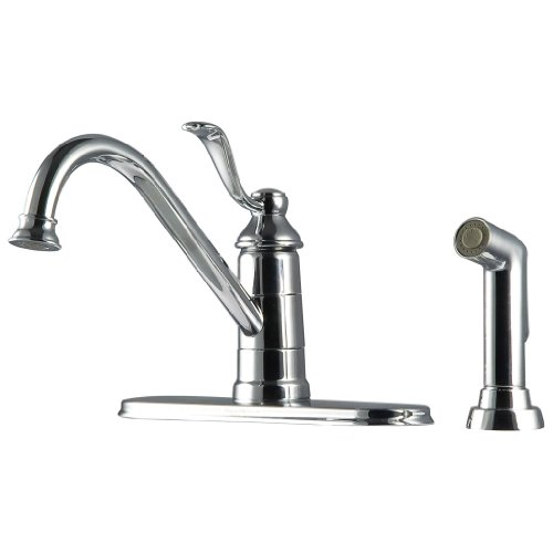 Pfister GT344PC0 Portland 1-Handle Kitchen Faucet with Side Spray in Polished Chrome, Non-Water Efficient ()