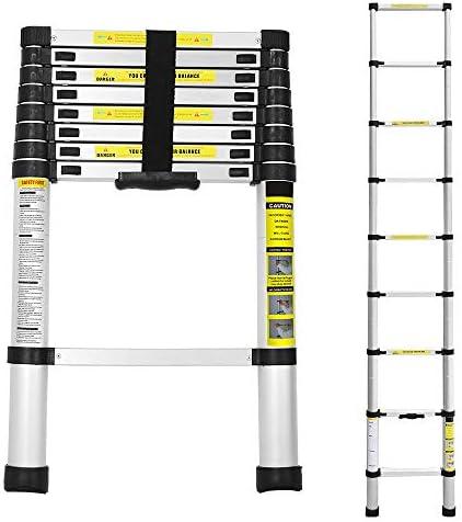 1,9+1,9 M Escalera telesc/ópica de Aluminio Fuerte Estabilidad Escalera plegable Escalera alta multifuncional para loft 6+6 Escalones Antideslizantes Carga 150 KG wolketon 3,8