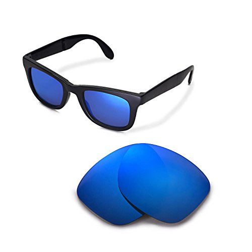 Walleva Replacement Lenses for Ray-Ban Wayfarer RB2140 50mm Sunglasses - Multiple Options Available (Ice Blue - - Blue Rb2140