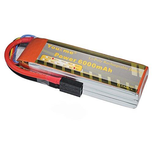 Lipo Trx Plug - Youme 3S Traxxas Lipo Battery 6000mah 11.1V 50C-100C TRX Plug for DJI F450 Trex-500 RC Heli, RC Traxxas Car / Truck,RC Buggy,RC Boat and Drone (6.1x1.89x1.1inch,0.93lb)