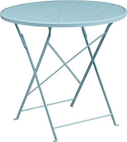 SuperDiscountMall Premium Quality 30'' Blue Folding Patio Table CO-4-SKY-GG by SuperDiscountMall