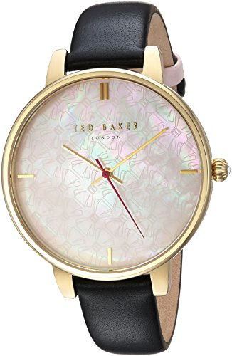 Ted Baker Women's 'KATE' Quartz Stainless Steel and Leather Casual Watch, Color Black (Model: TEC0025009)