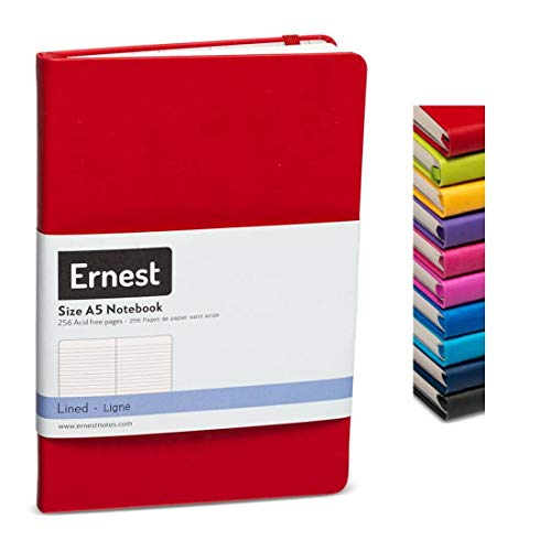 Ernest Classic Hardcover Notebook/Journal Red-Lined, Premium Ivory Paper, Expandable Inner Pocket, Organizational Stickers (red, lined)