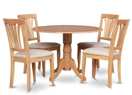 Round Table Oak Chairs (East West Furniture DLAV5-OAK-C 5 PC Nook Dining Set-Round Table and 4 Kitchen Chairs, Oak Finish)