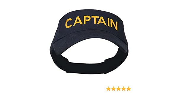 a3b34d3c058 Amazon.com  E4hats Captain Embroidered Strap Back Visor - Navy OSFM   Clothing