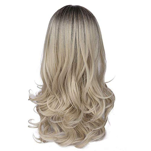 Minyu Mixed Ash Blonde Middle Part Long Wavy Wig High Temperature Natural Hair Wave Synthetic Wig Glueless Fake Hair-in Synthetic None,Brown,26inches]()