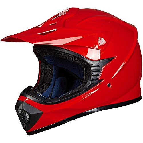 ILM Adult ATV Motocross Dirt Bike Motorcycle BMX MX Downhill Off-Road MTB Mountain Bike Helmet DOT Approved (RED, Adult-XL)