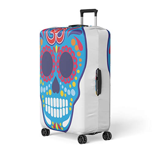 Pinbeam Luggage Cover Aum Sugar Skull Om Vintage Bone Buddha Death Travel Suitcase Cover Protector Baggage Case Fits 22-24 inches -