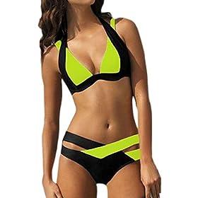 - 4177tLSpYfL - GONKOMA Swimsuit Swimwear Bathing Suit Women Beach Wear Bandage 2PCS Bikini Set Swimsuit