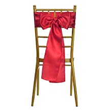 VEEYOO 10pcs Satin Chair Sash Ribbon Bows Cover for Wedding Party Dining Use, Red