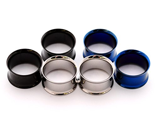 Mystic Metals Body Jewelry Set of 3 Pairs Steel Double Flare Tunnels - 1/2