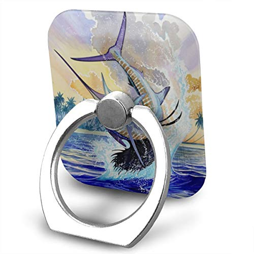 Phone Ring Holder Stand Beautiful Blue Marlin Pattern Grip Mount Compatible with Smartphones for All Phones