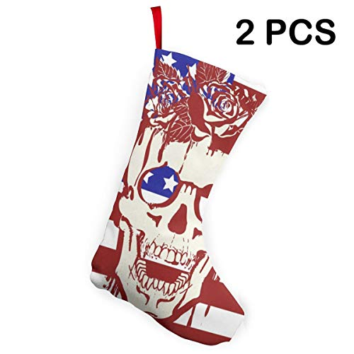 Ladninag Christmas Stockings US Flag Skull Rose Cool Socks 2 pcs