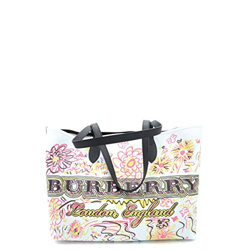 Burberry Women's Doodletote Check Reversible Canvas Tote White