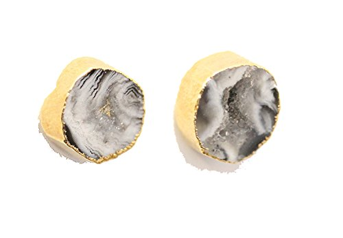 SONIA HOU YOLO Agate Stud Earrings, Agate Gemstone Electroplated in 24K Gold (Black & White (Best Halloween Costumes Celebrities 2017)