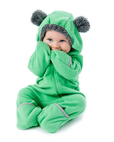 Funzies Baby Bunting Fleece Hooded Romper Bodysuit (BearGreen3-6m)
