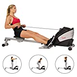 Sunny Health & Fitness Dual Function Magnetic Rowing Machine w/ Digital Monitor, Multi-Exercise Step Plates, 275 LB Max Weight and Foldable - SF-RW5622