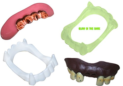 [Fake Teeth and Vampire Fangs - All 4 Included in Variety Pack] (Scary Dentist Costume)