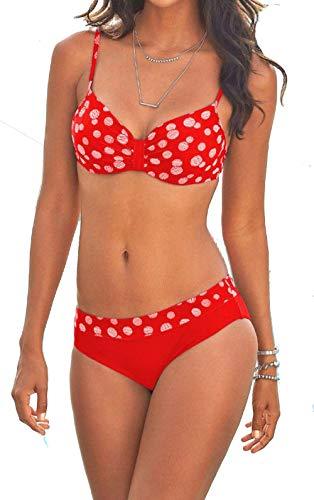 Modern Underwire Bikini - tengweng Women Fashion Push up Two Piece Bikini Swimsuit Vintage Polka Dots Padded Bathing Suit M PQA5