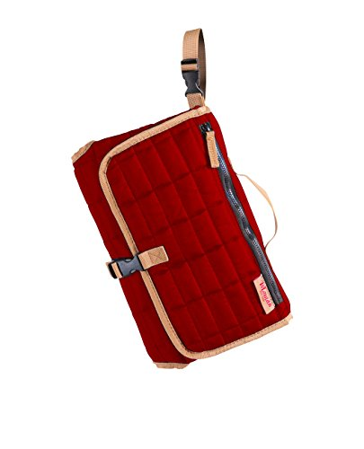 (MAMAN Portable Changing Pad Station - Waterproof Cushioned Diaper Changing Mat Organizer for Baby Boys and Girls (Red))
