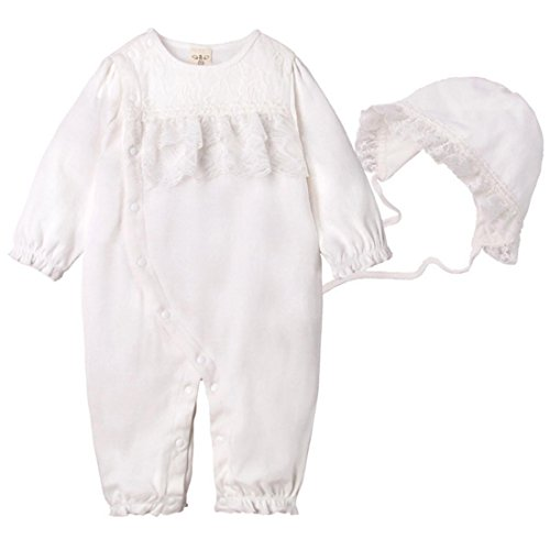 PAUBOLI Baby Girl Lace Petti Ruffle Rompers + Newborn Baby Bonnet Hat Set Princess Outfit Pink White (6-12 Months, White) (Dress Ballerina Onesie)