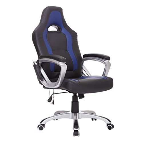 HomCom Race Car Style PU Leather Heated Massaging Office Chair - Blue by HOMCOM